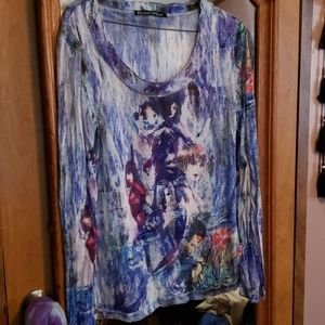 Tattoo French Lady Faces Studded Tee Top